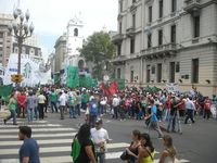 Politics, Plaza de Mayo -- gathering to demonstrate for public services and justice
